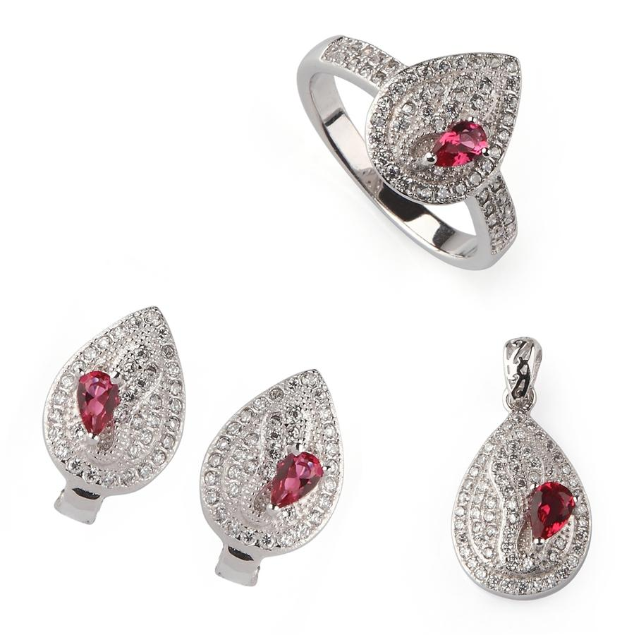 Copper Rhodium Plated Punk heart set (ring/earring/pendant) Red Cubic Zirconia Noble Generous MN3119set sz#6 7 8 9 Beautiful The new product