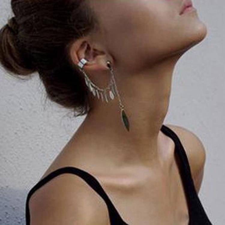 New Fashion Women Girl Punk Rock Leaf Chain Tassel Dangle Cuff Earrings Charms Metallic Wrap Ear Cuff Earrings