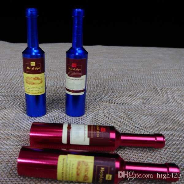Botella de vino al por mayor estilo nuevo diseño Mejor calidad tubos de tabaco fumar cigarrillos Mini portátil fumar pipas de metal compras gratis