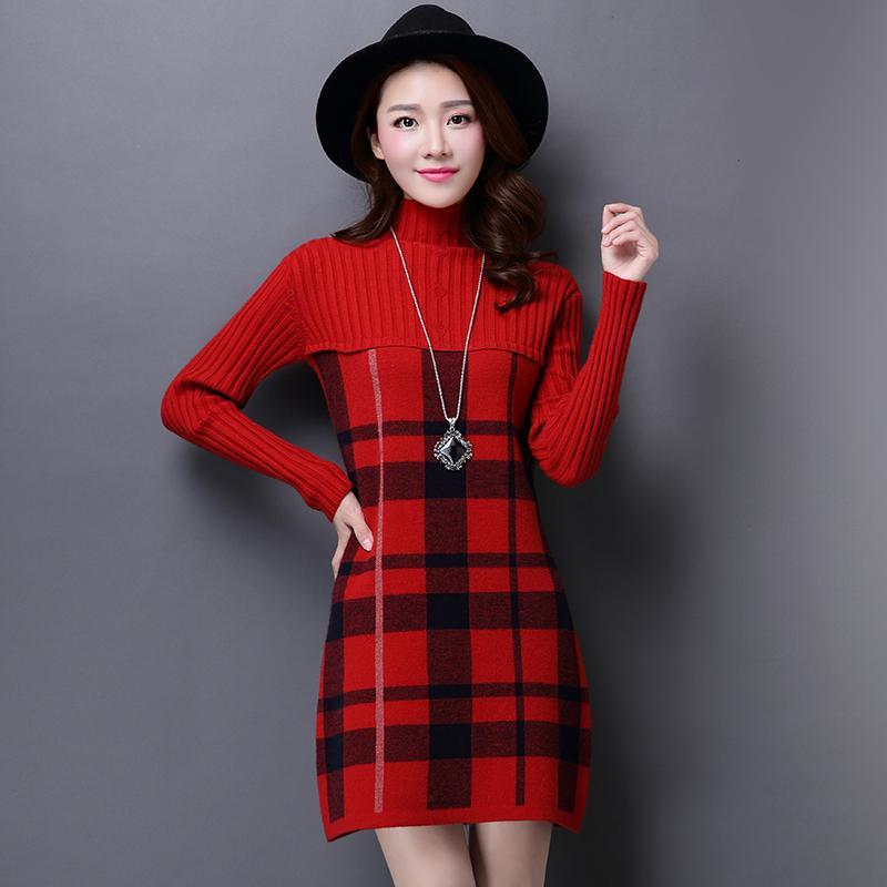 c3c9424762d47e Wholesale- Autumn Winter Women's Cashmere Sweater Dress Plus Size  Turtleneck Plaid Knit Sweater Women Winter Korean Fashion Pullovers Lady
