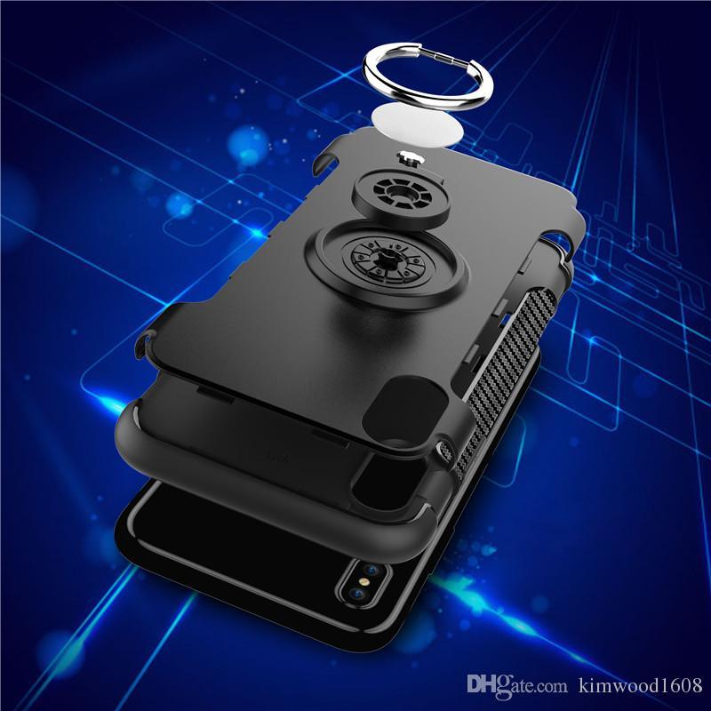 Hybrid TPU + PC 2 en 1 caso de la armadura a prueba de golpes casos 360 titular del soporte del anillo cubierta trasera magnética para el iPhone X Samsung S8 Plus S7