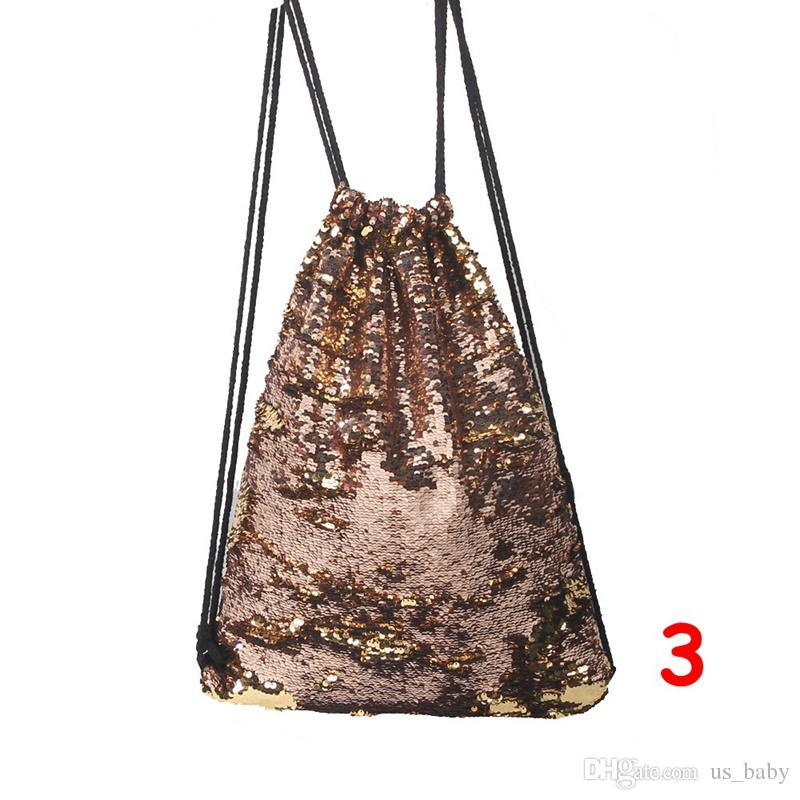 Women Mermaid Sequin Bling Backpack Girls Glittering Shoulder Small Travel Drawstring Bags For Teenage Girl Personality Mochila