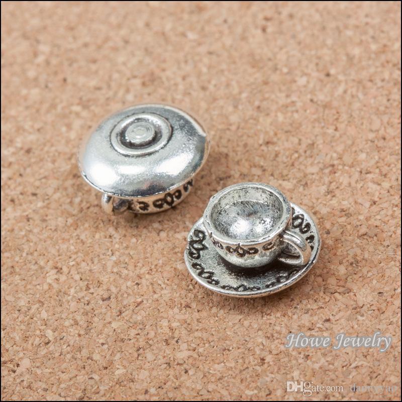 Mode café tasse en alliage charmes pendentif vintage bracelet breloques AAC1228