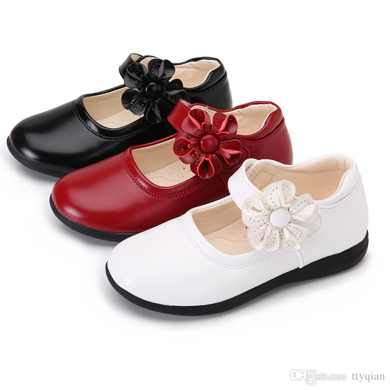 Red white Flowers Children Girls Leather Student Shoes Kids Party Christmas Birthday Wedding For Girls Baby Round Toe Dance Princess Shoes