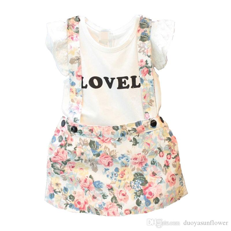 Newborn Baby Girl (2-7T) 2pcs Dress Outfit Ruffled T-shirt+Floral Suspender Braces Skirt Overalls INS Popular Style Baby Clothing