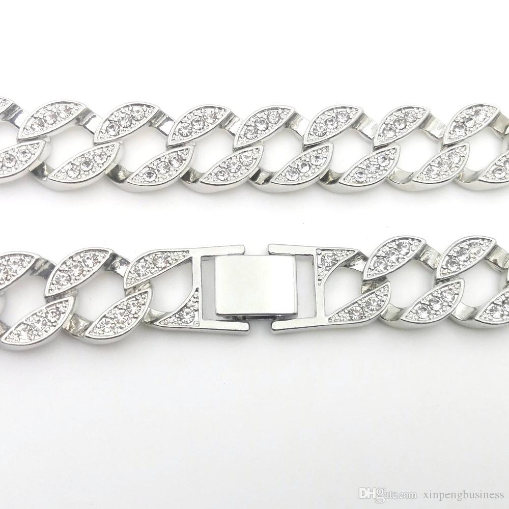 18K White Gold Iced Out CUBAN Miami Chain Link Micro Pave Lab CZ Diamond Necklace 140g 76CM 30INCH 15MM Wide