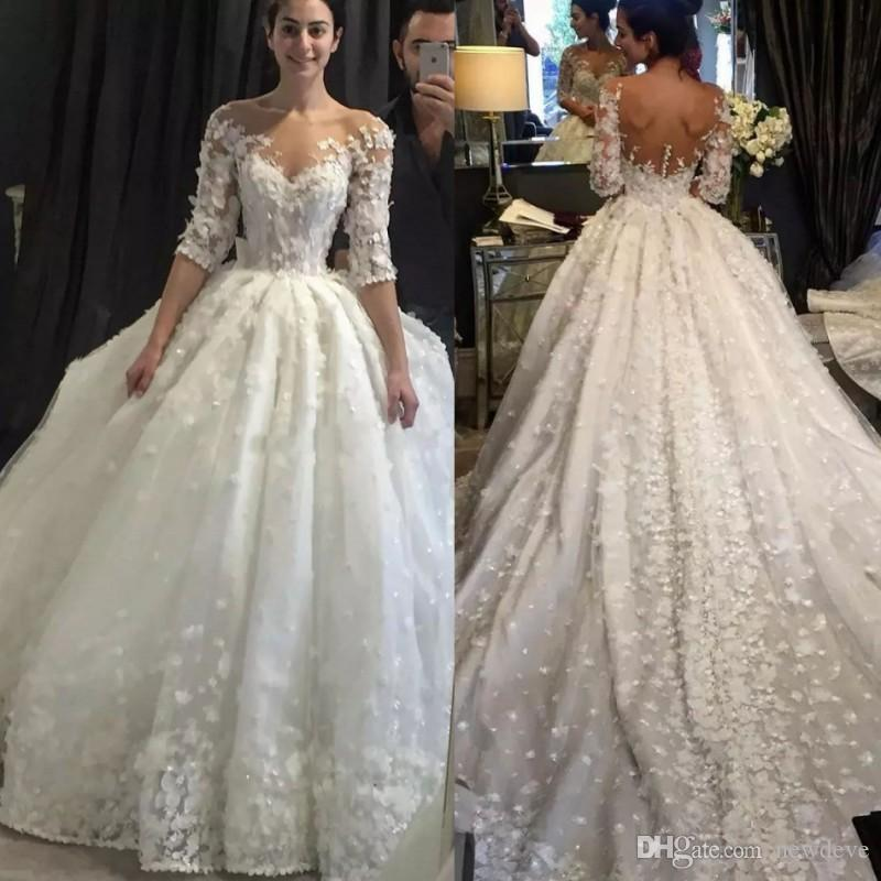 Luxury ball gown wedding dress with 3d flowers lace bridal gowns luxury ball gown wedding dress with 3d flowers lace bridal gowns with sleeves sheer neck bling wedding dresses plus size black and white wedding dresses mightylinksfo