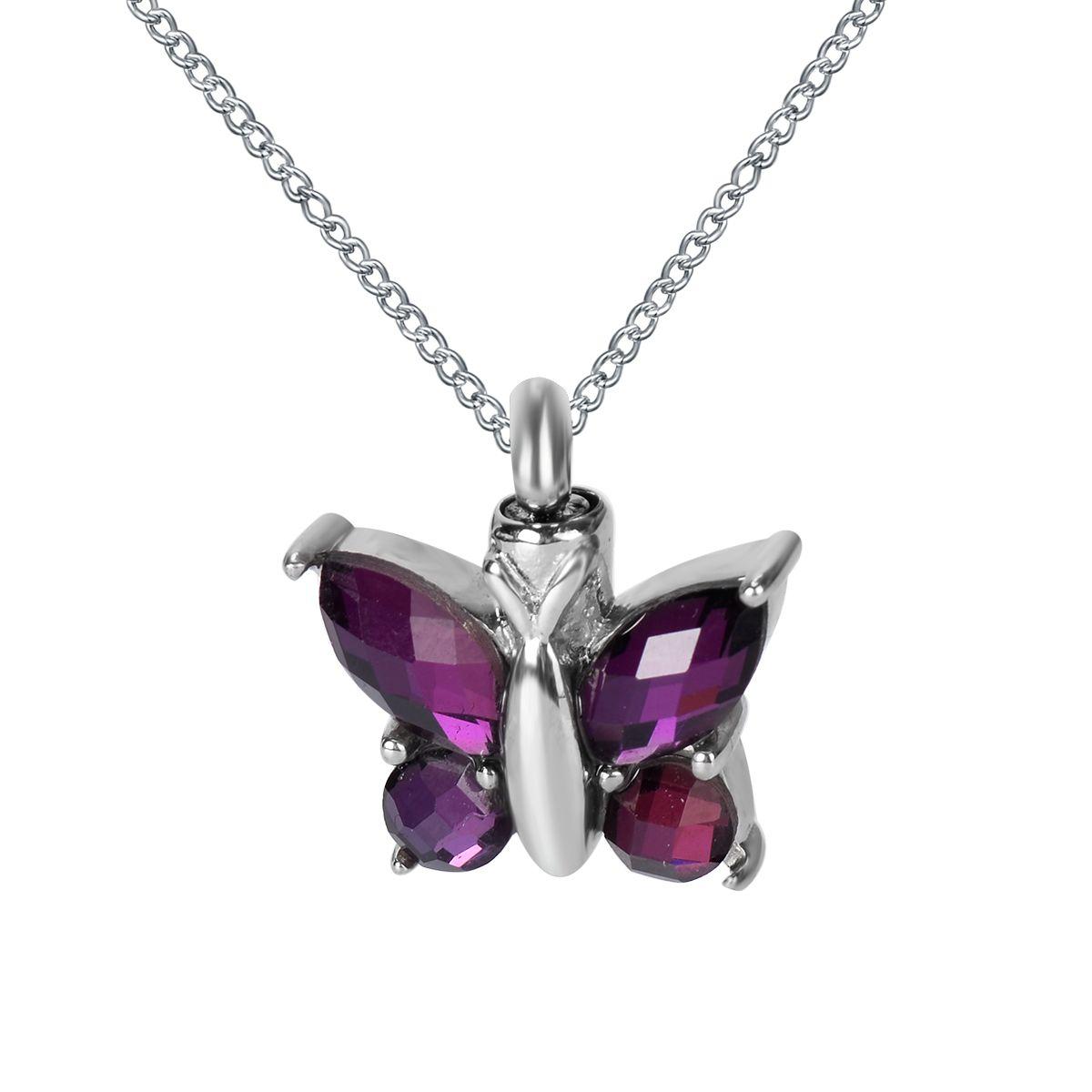 Collar de urnas mariposa de circonio púrpura recuerdo de ceniza conmemorativa de acero inoxidable con bolsa de regalo embudo y cadena
