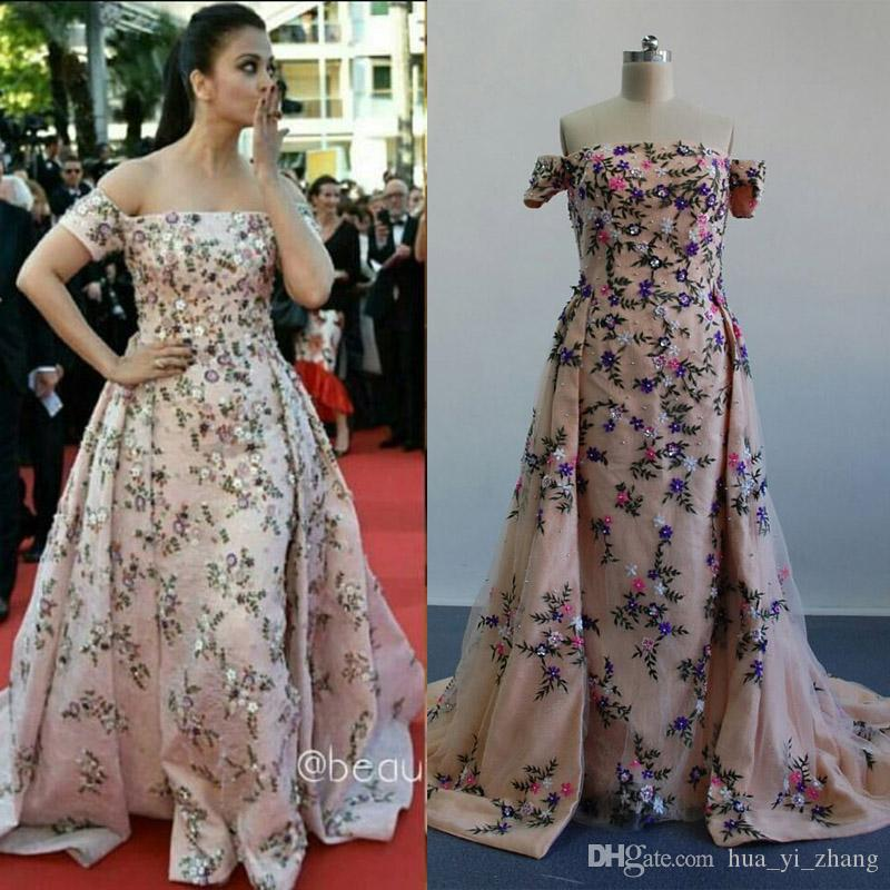 4abbb6020d8 Myriam Fares Aishwarya Rai Celebrity Dresses Cannes Film Festival 2016 Real  Images Embroidery Beaded Evening Gowns With Detachable Overskirt Blue  Dresses ...