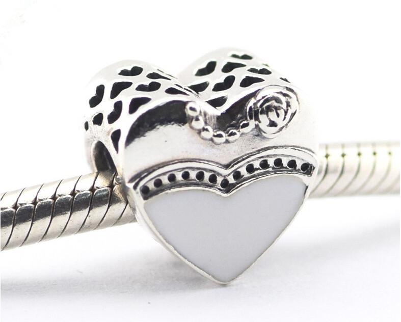 Pandora Nuestro Día Especial Esmalte Encantos del corazón 925 cuentas sueltas de plata esterlina para la pulsera del hilo de la joyería del fashon auténtico