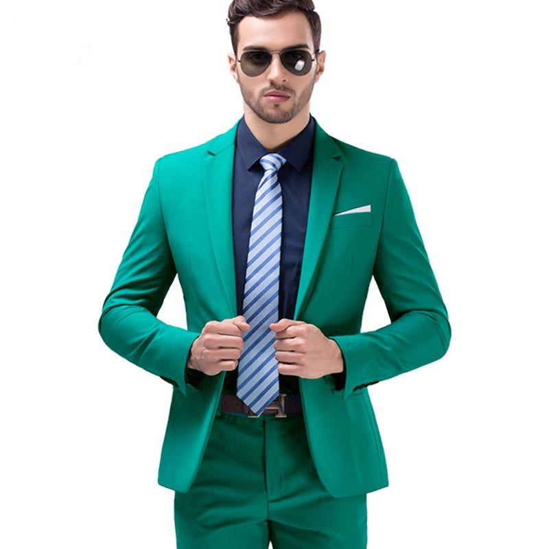 2018 New Arrival Mens Solid Color Green Suit Set Mens Commercial