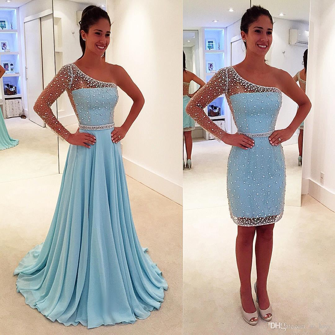 Detachable Skirt Light Sky Blue Prom Dresses One Shoulder Long Sleeve Crystals Beads Chiffon Party Dress Custom Size