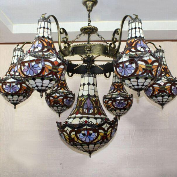 Creative Art Antique Stained Glass Pendant Light Bar Hotel Villa Tifffany  Lamp Chandelier Hanging Light Fitting Nautical Pendant Lights Drum Shade  Pendant ... - Creative Art Antique Stained Glass Pendant Light Bar Hotel Villa