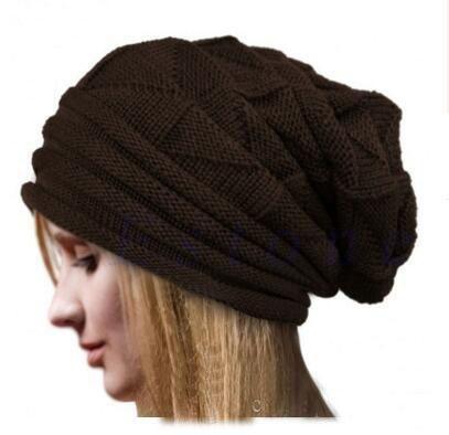 Winter Casual Cotton folding cap Knit Hats For Women Men Baggy Beanie Hat Crochet Slouchy Oversized Ski Cap Warm