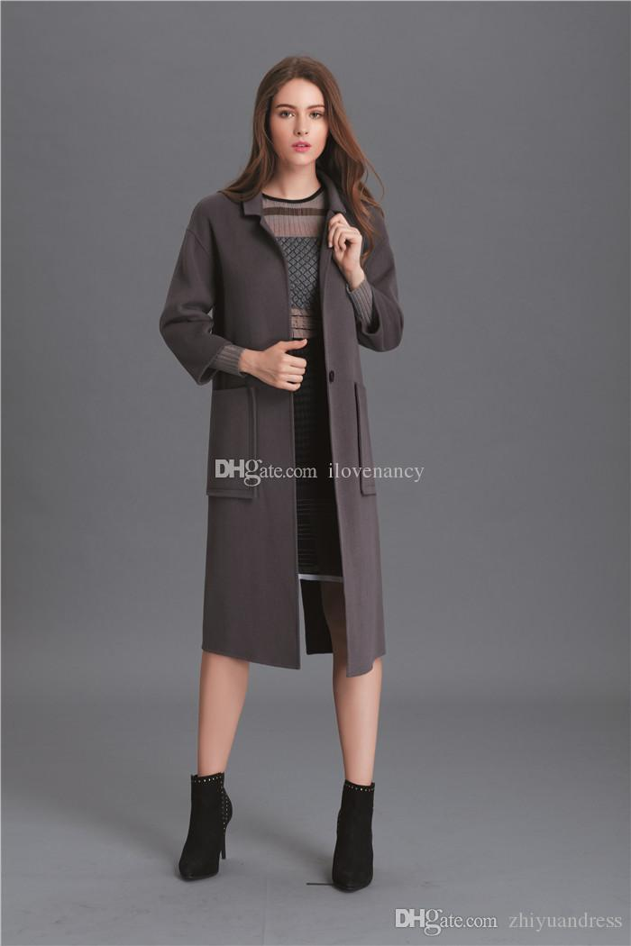 2018 Grey/Black/Red Women Wool Coats 2017 High Quality Fashion ...