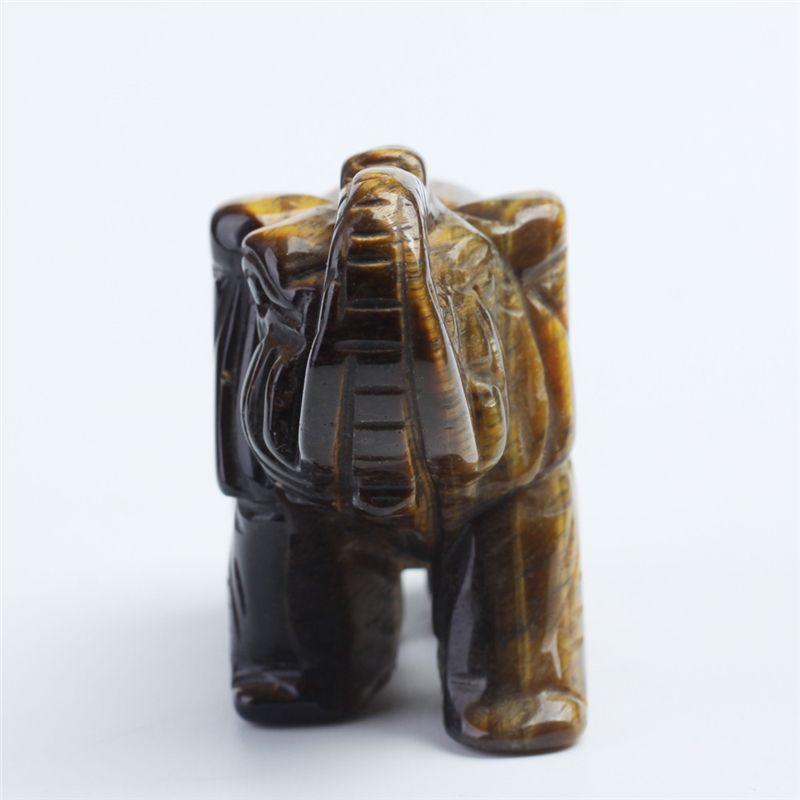3inch Quartz crystal tiger-eye elephant Figurine Carving Stone Longevity Chakra Healing Reiki Stones crystal elephant