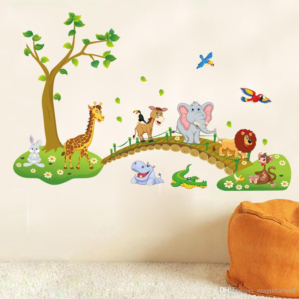 Kids Babies Boys Girls Room Wall Decor Poster Cartoon Animals Lined Up to walk across the Bridge Wall Decals Forest Animals