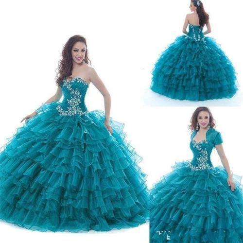 Ball Gown 2016 Quinceanera Dresses Sweetheart Ruffles Beading Floor Length Backless Lace Up With Short Sleeve Jacket Bolero Party Pageant