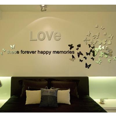 Mirror Wall Stickers English Love Butterfly Acrylic Decorative ...