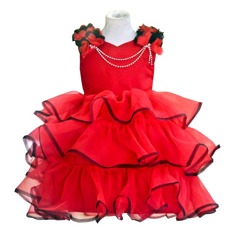 563f6601ad3 2019 PrettyBaby 2016 Summer Girls Red Dress High Quality Sleeveless Cake  Dress Necklace Accessories Ball Gown From The one