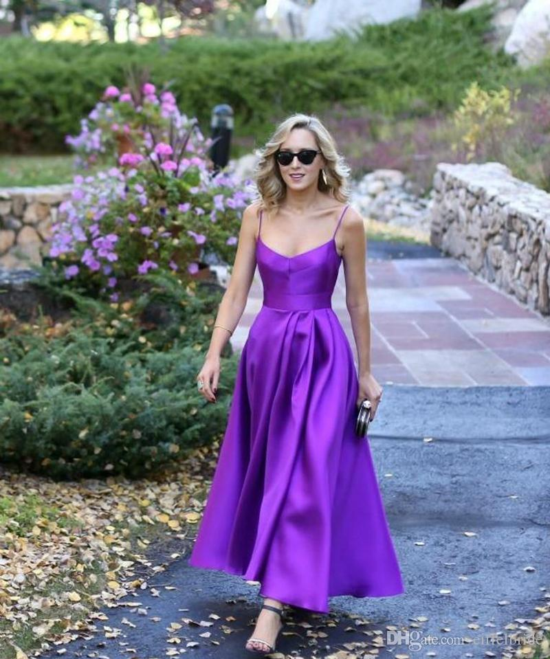 Cheap Fashion Prom Dresses 2016 Sexy Spaghetti Straps Elegant Purple A Line Backless Satin Formal Evening Gowns Ankle Length Fast Shipping
