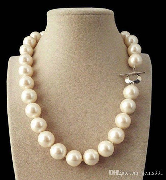 fa5517cd0f30 Compre Rare Enorme 14 Mm Blanco Genuino Mar Del Sur Shell Pearl Perlas  Collar 18    Aa A  20.1 Del Gems991