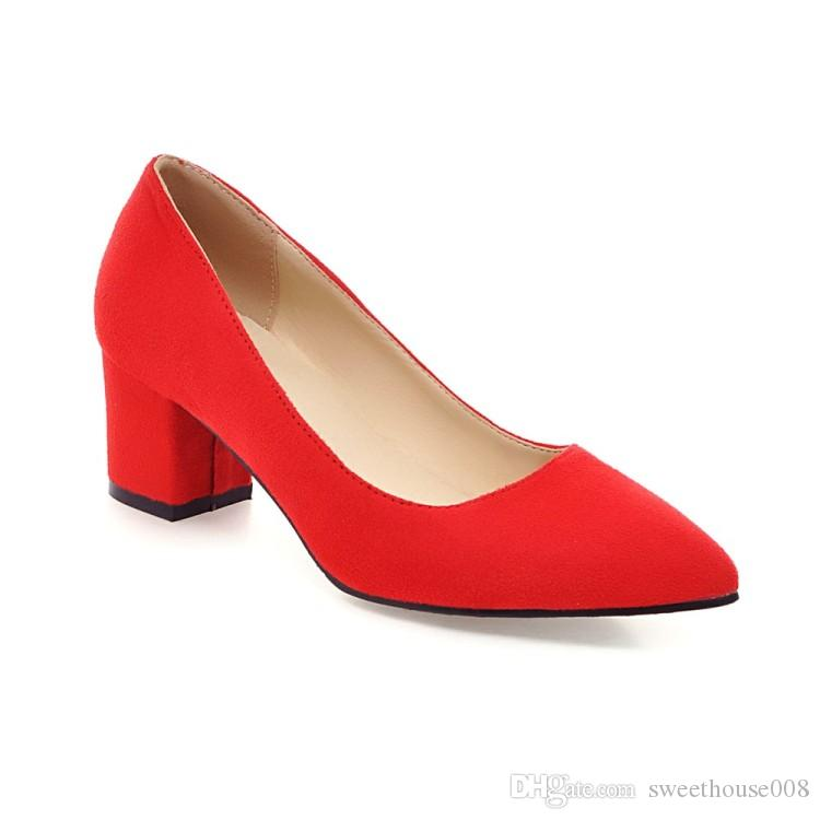Red/Grey Micro Suend Plain Pumps Women Shoes Pointed Toe Kitten ...
