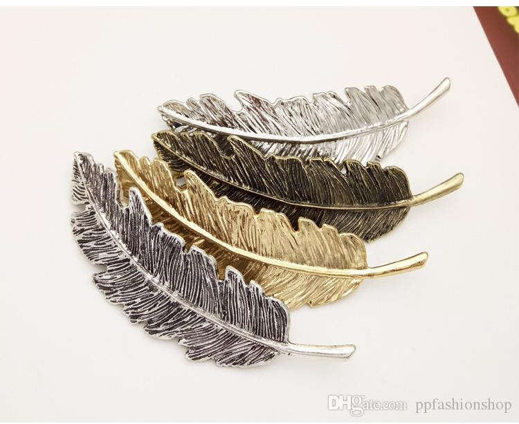 2017 new brand jewelry retro exaggerated alloy feather hairpin leaves leaf side clip spring horsetail hairpin wholesale