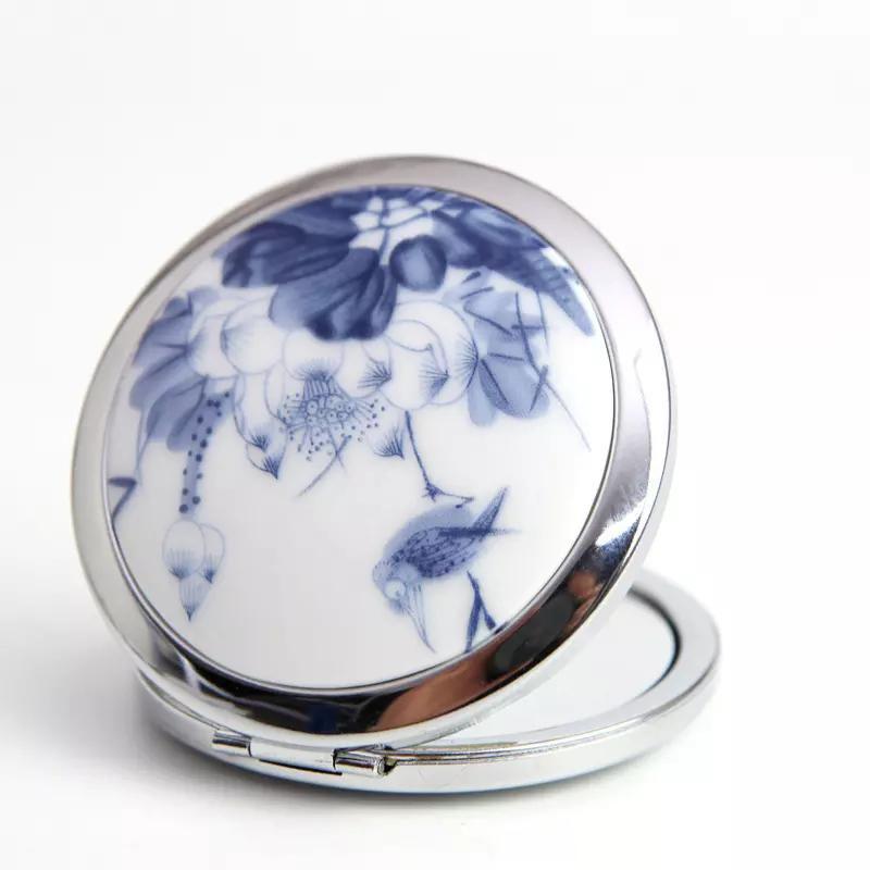Darmowa wysyłka Dobry wygląd Lustro chińskie Ceramiczne i metalowe Kompaktowe Przenośne Makijaż Kosmetyczny Retro Okrągłe Lustro