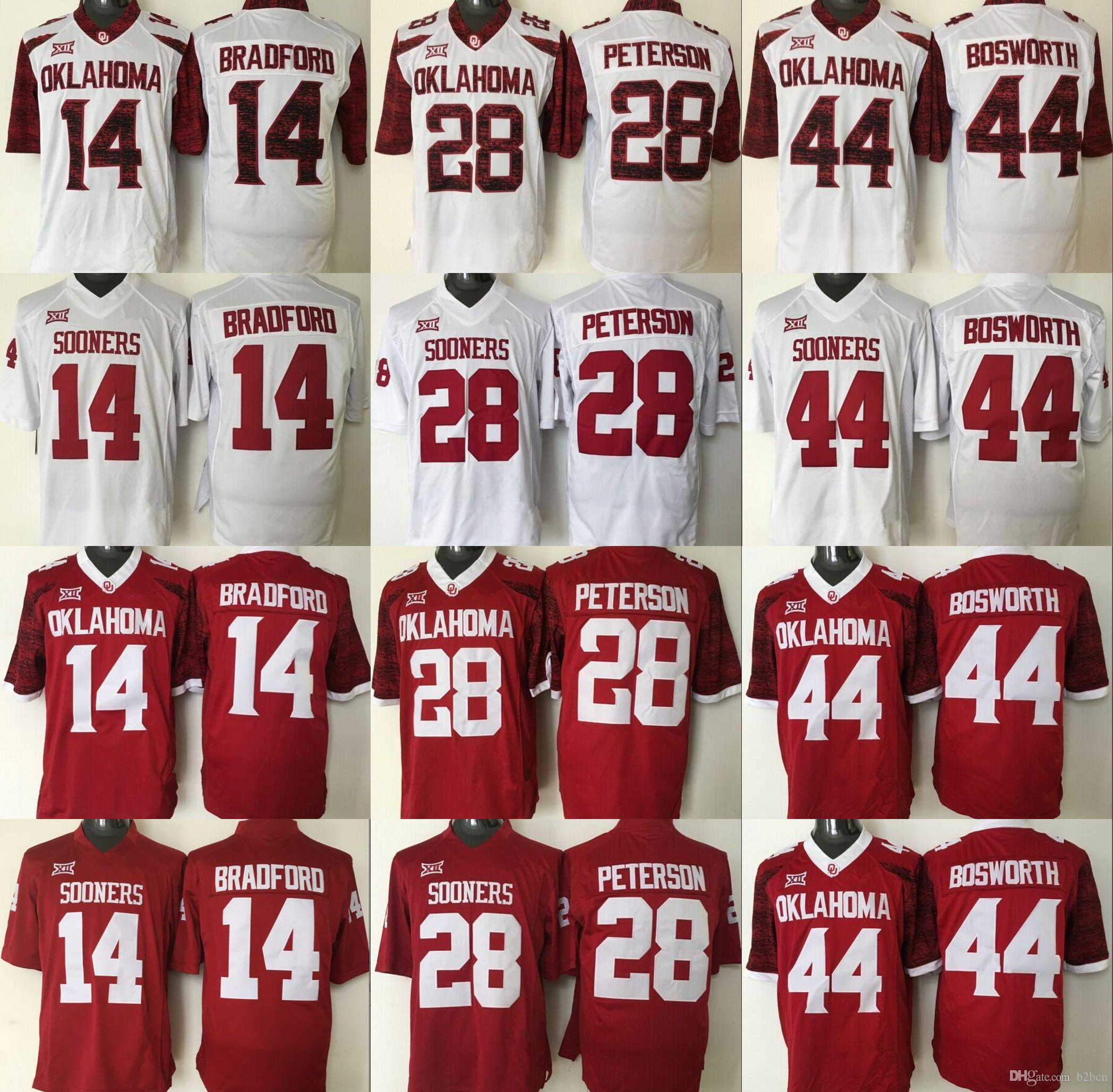 2346f9233 Oklahoma Sooners Jersey 2016 Football Ncaa College 14 Sam Bradford 28  Adrian Peterson ...