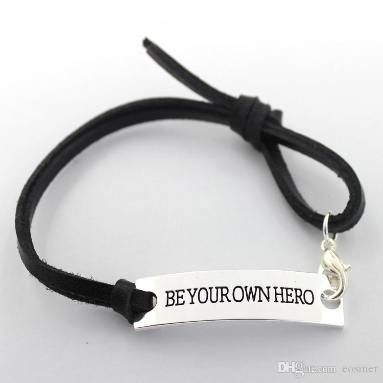 Eosmer carimbado pulseira inspiradora: Seja você próprio herói Encourage citação pulseira preta carimbada Inspiring presente pulseira 10 pçs / lote, frete grátis