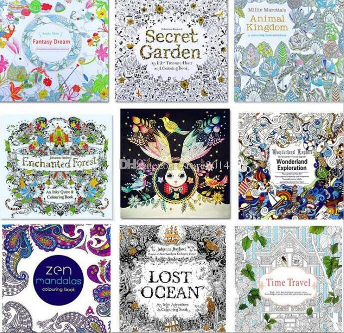 2016 Newest 8 Style Coloring Books Relieve Stress Lost Ocean Secret GardenZen Mandalas Time Travel Wonderland Exploration Printable Colouring