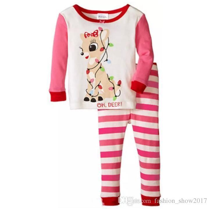 최신 크리스마스 어린이 잠옷 세트 소년 소녀면 새해 잠옷 긴팔 좋은 품질의 아동 잠옷 정장