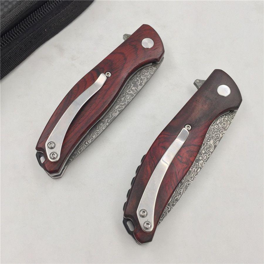Envío gratis, oso promocional forjado acero damasco alta dureza exterior cuchillo de viaje portátil pequeño cuchillo plegable cuchillo de la fruta