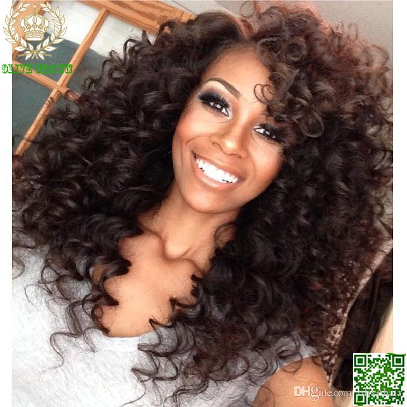 Brazilian Kinky Curly Full Lace Wig Human Hair Glueless Lace Front Wigs Deep Curl Human Hair With Baby Hair Color #1b