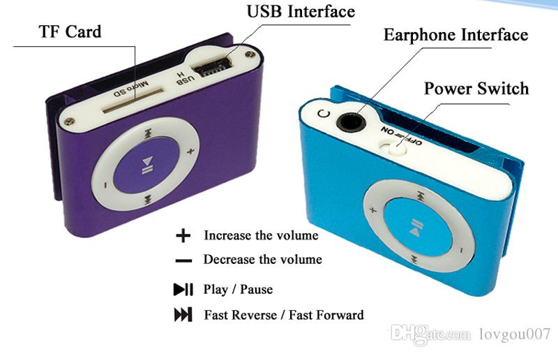 Wholesale Mini Clip MP3 Player Factory Price Come With Crystal Box Earphones USB Cable Support TF Card Micor SD Card