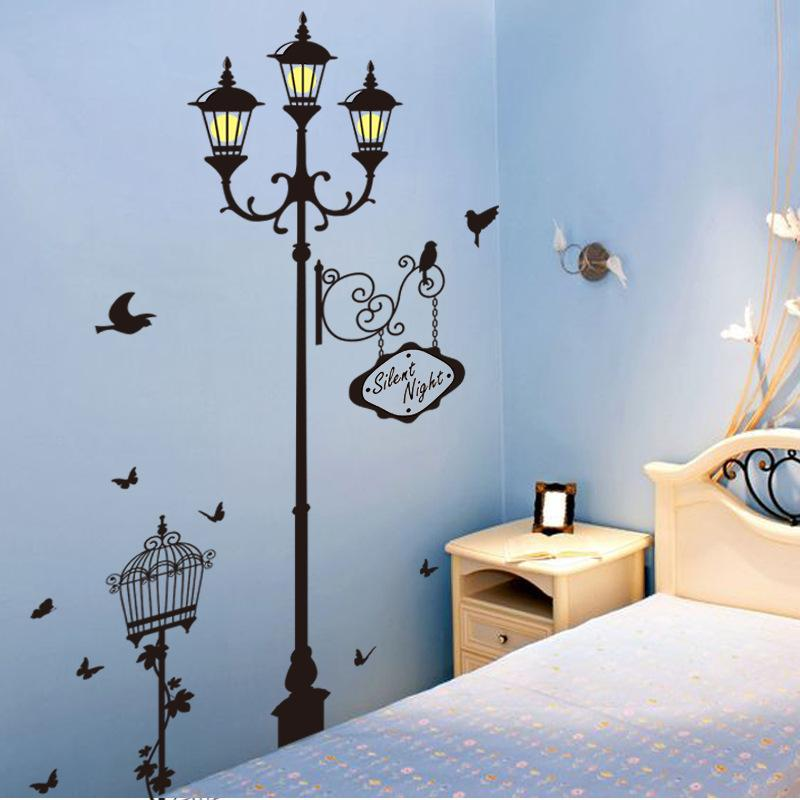 New Bird Street Lamp Silent Night Wall Stickers Home Decor Living