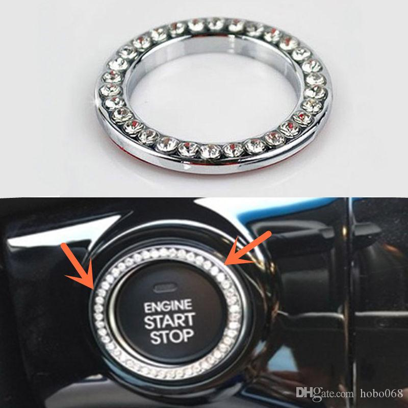 10pc track White Auto Decorative Accessories Car Button Start Switch Diamond Ring 4.2cm DIY LJ