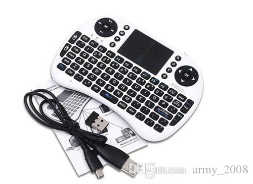 Rii i8 Teclado Air Mouse Control remoto Touchpad Dispositivo portátil para TV BOX PC Laptop Tablet Raspberry Controlador PI con batería de litio