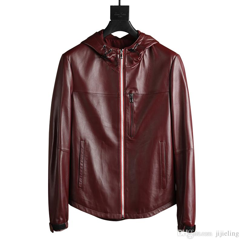 New Mens Luxury Designer Hooded Leather Jacket ~claret Winter ...