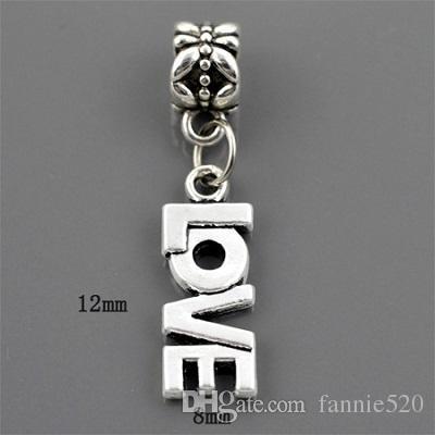 12mm*8mm Charm European Bead Fit Pandora Snake Chain Bracelet necklace pendant Women DIY jewelry letter love ancient silver charm dangle