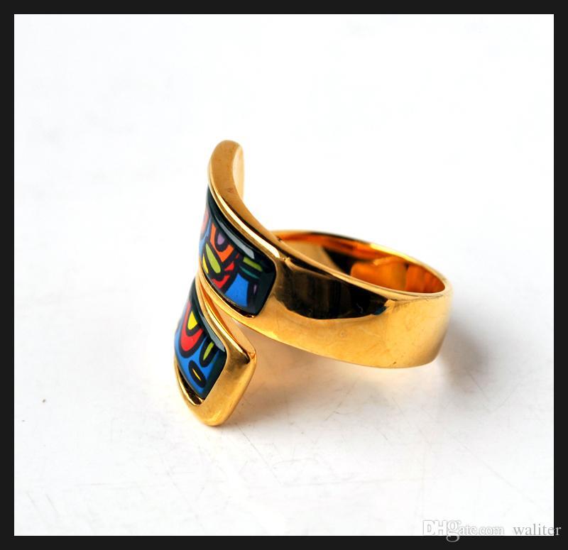 Hundertwasser Village Series doble anillo curvado 18K anillos de esmalte dorado Anillo de calidad superior para mujeres anillos de banda para regalo