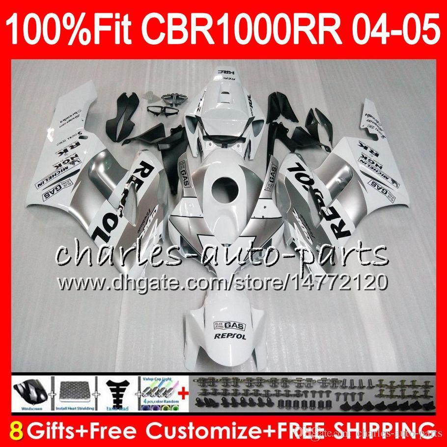 Corps d'injection pour HONDA CBR 1000RR 04 05 Repsol silver Carrosserie CBR 1000 RR 79HM6 CBR1000RR 04 05 CBR1000 RR 2004 2005 Kit de carénage 100% Fit