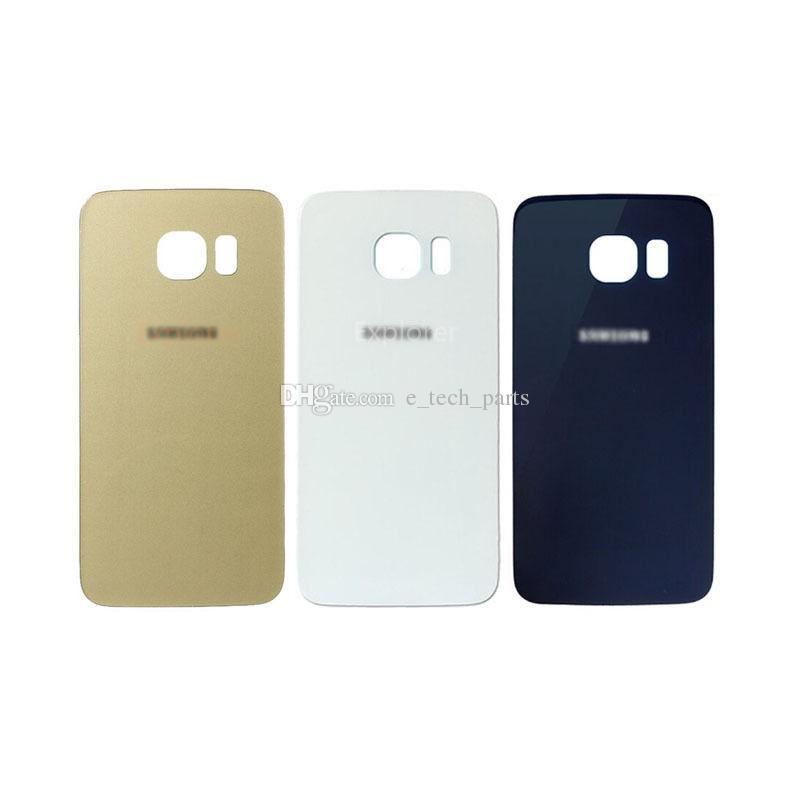 50 ADET Pil Arka Konut Kapak Cam Kapak Için S6 G9200 G920F S6 Kenar G925F G9250 Yapıştırıcı ile mavi beyaz altın Siyah