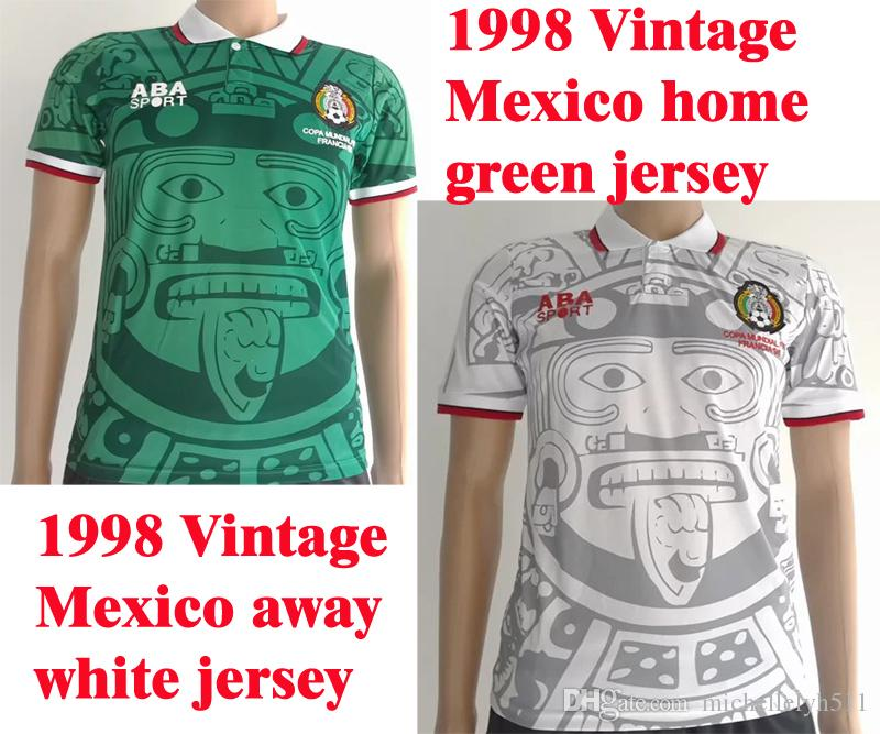 f2cd6666413 Benwon -1998 Vintage Mexico home green soccer jersey 1998 Classic Mexico  away white football shirts adult's thai quality sports jerseys wear