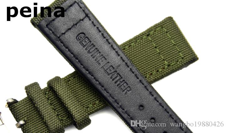 Ücretsiz Kargo 21mm YENİ Siyah / Yeşil Naylon ve IWC kol saatleri için Deri Watch Band kayış