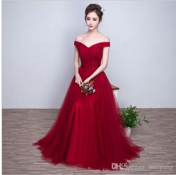 e294955ec4 Burgundy Ivory Silver 2016 Real Sample Cap sleeves Off shoulder Formal  Women Bridesmaid Dresses Long Tulle Wedding Party Gowns