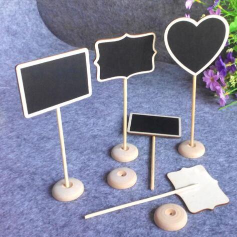 Toptan Mini Ahşap Blackbord aon sopa Standı Masa Numaraları Düğün Şeker İşaretler Doğum Günü partisi