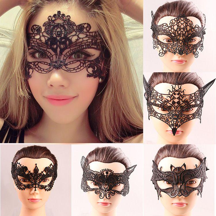Хэллоуин Sexy маскарадных маски Black / White Lace Маска Венецианская Половина маска для Маски Рождества Cosplay Party Night Club / Бал Eye