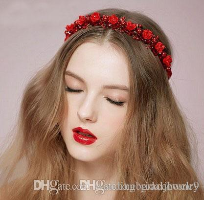 2018 Wedding Bridal Hair Band Flower Headband For Women Red White Hairpiece Crown Tiara Jewelry Accessories Fashion Handmade Hallowee From
